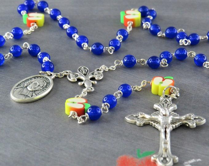 Teacher Rosary - Blue Candy Jade Gemstone Beads - Polymer Apple Beads - Italian Center - Italian Crucifix -St John Baptist De La Salle Medal