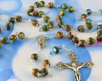 Multi Color Sea Jasper Rosary - Multi Color Sea Sediment Imperial Jasper Gemstone Beads - Lourdes with Water Center - Eucharistic Crucifix