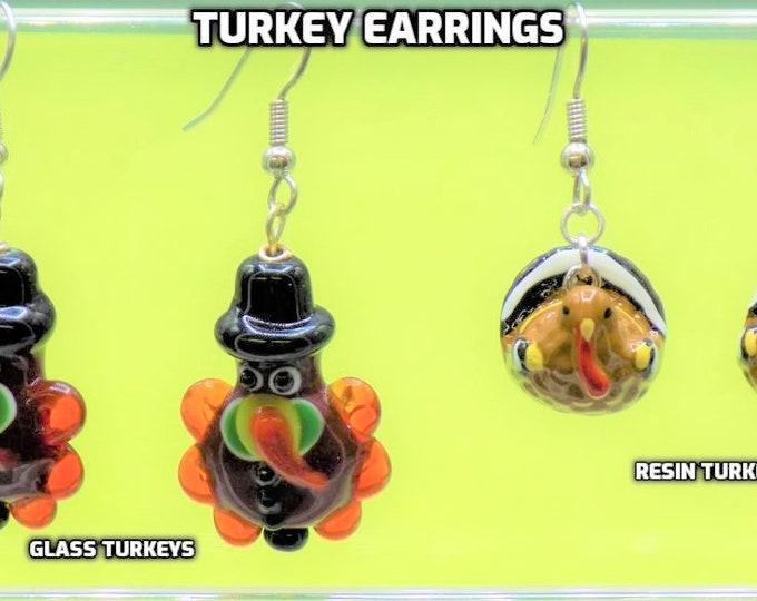Turkey Earrings - Handmade Lampwork Glass Turkey Earrings -  Handpainted Resin Turkey Earrings-Fun Earrings for Fall & Thanksgiving