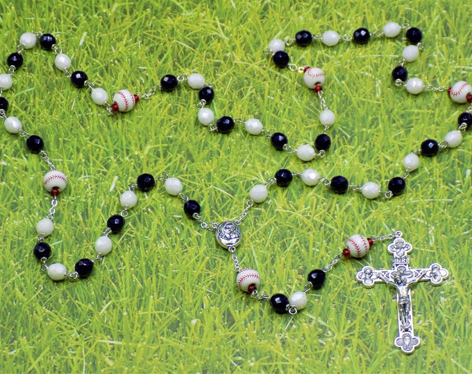 Baseball Rosary - Czech Navy Blue & White  or Dk and Lt Blue Glass Beads - Ceramic Baseballs - Jerusalem or Holy Face Centers -Ital Crucifix