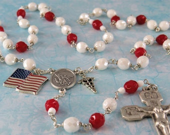 Medical Service Rosary - Czech White and Red 8mm Crystal Beads - ST Michael Center - Choose Medical Charms - Italian Stations Crucifix