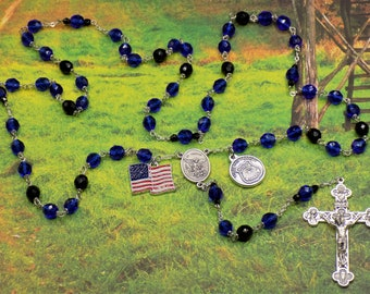 Police Officer Rosary - Czech Blue & Black 8mm Crystal Beads - Saint Michael Italian Silver Center - Italian Crucifix - US Flag Charm Rosary