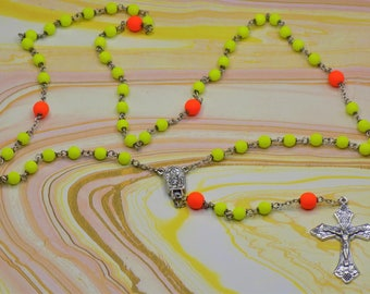 Neon Rosaries - Czech Neon Yellow and Orange or Orange and Yellow Glass Beads - Water from Fatima, Portugal Centers -  Italian Crucifixes