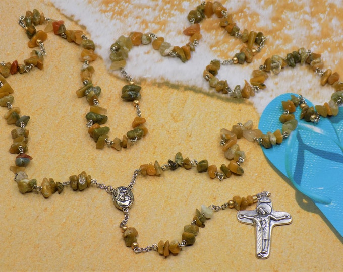 Golden Jade Rosary - Semi Precious Golden Jade Chip Layered Beads - Center Contains Soil from Jerusalem - Italian Mary and Jesus Crucifix