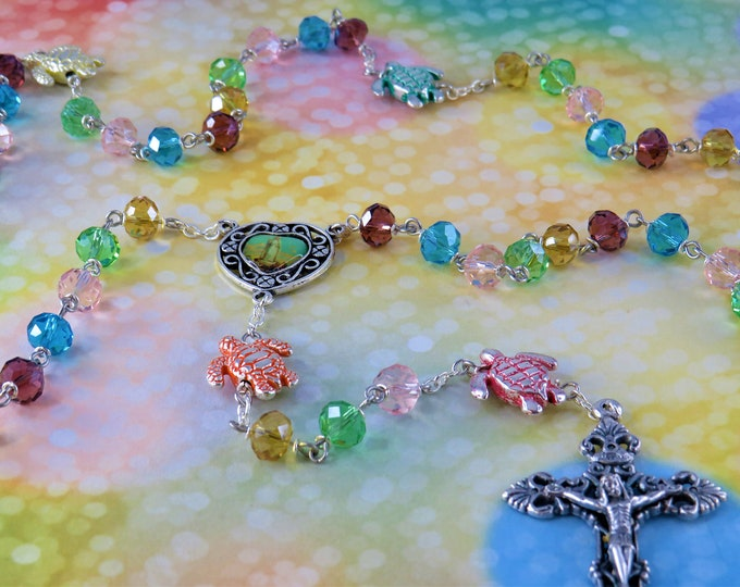 Colorful Turtle Rosary - Fancy Crystal Multi Color Beads - Metal Turtle Father Beads - Our Lady of Fatima Center - Italian Filigree Crucifix