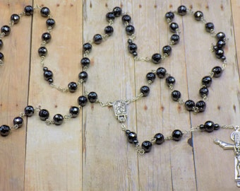Hematite Rosary - Semi Precious Faceted Hematite Beads - Italian Silver Lourdes Center Contains Water - Italian Silver Holy Trinity Crucifix