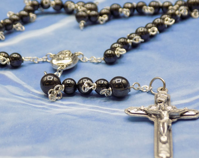 Magnetic Hematite Rosary - Semi Precious Magnetic Hematite 6mm Beads - 8mm Father Beads - Italian Mary Earth Center - Italian Angel Crucifix