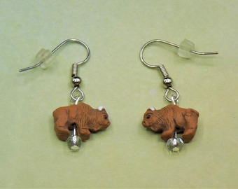 American Brown Buffalo (Bison) 11x16mm, American Brown Buffalo (Bison) 17x23mm, Moose and Deer 3D Earrings