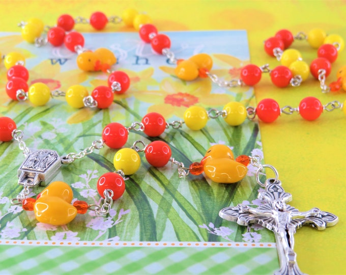Easter Chick Rosary - Orange and Yellow Glass Beads - Czech Glass Chick Father Beads - Lourdes Center with Water - Italian Sunburst Crucifix