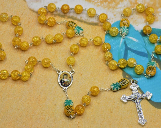 Quartz & Pineapple Rosary - Yellow Crackle Quartz Beads - Ceramic Pineapple Beads - -  Ital Perpetual Help Center -Ital Eucharistic Crucifix