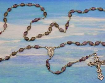 Purple Ladybug Rosary - Czech Purple Ladybug Glass Beads - Italian Silver Water from Fatima, Portugal Center - Italian Filigree Crucifix