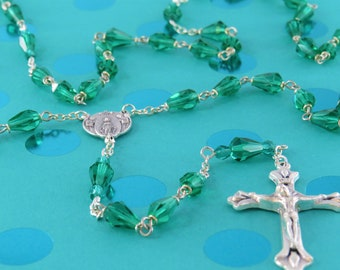 Mary's Tears Aquamarine Rosary - Czech Aquamarine Teardrop Crystal Beads - Italian Miraculous Mary Center - Italian Silver Sunburst Crucifix