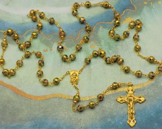 Gold Cloisonné Rosary - Gold 8mm Cloisonné Metal Beads - Italian Our Lady and Fatima Center - Italian Filigree Crucifix