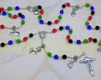 Rosary of Africa - Czech Black, Red, Green & Blue Glass Beads - Round Pewter Father Beads - African Charms - Mary with Soil Center -Crucifix