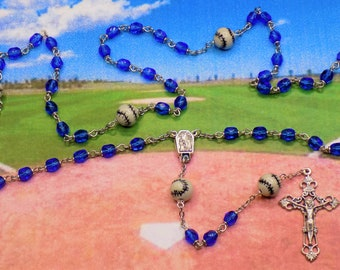 Baseball Rosaries - Czech 6mm Crystal Beads - Peru Ceramic Baseballs - Centers Contains Water from Lourdes & Fatima - Italian Crucifixes