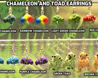 Chameleon and Toad Earrings - Several Colors of Chameleon Peru Ceramic 3D Earrings - Brown or Green Toad Lamp Glass 3D Earrings