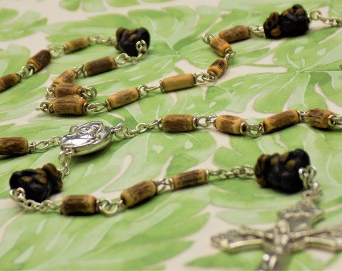 Monkey and Vine Rosary - Natural Vine Beads - Ceramic Monkey Father Beads - Mary & Child Center With Jerusalem Earth - Italian Vine Crucifix