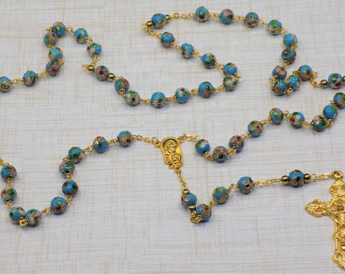 Turquoise Cloisonné Rosary - Turquoise 8mm Cloisonné Metal Beads - Italian Mary & Child-Our Lady of Fatima Center -Italian Filigree Crucifix