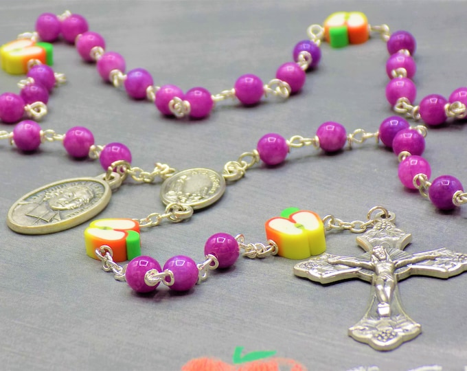 Teacher Rosary - Purple Candy Jade Gemstone Beads - Polymer Apple Beads - Fatima Center -Italian Crucifix -St John Baptist De La Salle Medal