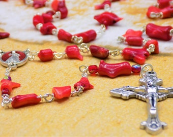 Natural Coral Rosary - Natural Coral Branch Beads - Czech Red Father Accent Beads - Divine Mercy Center - Italian Grapes and Vine Crucifix