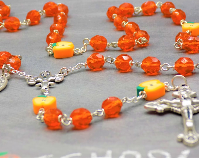 Teacher Rosary - Czech Orange Crystal Beads - Apple Beads - Fleur-de-Lis Fiat Center - Italian Sunburst Crucifix - St John De La Salle Medal