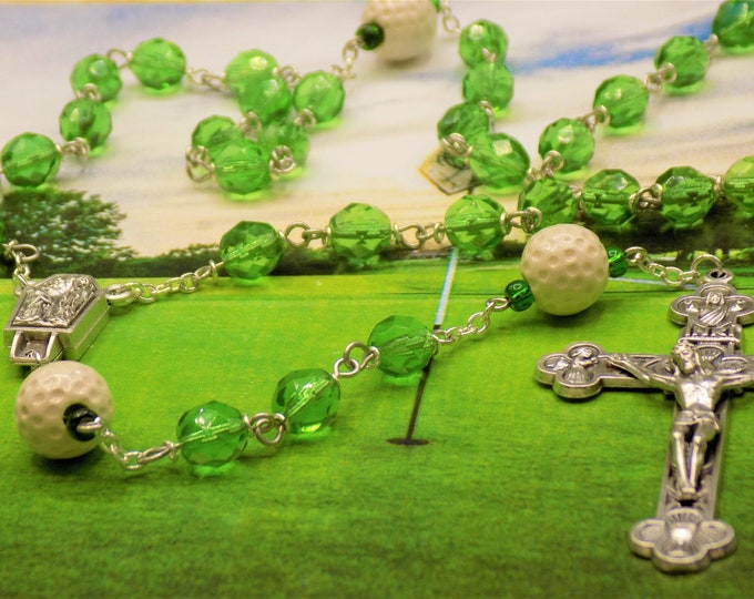 Golf Ball Rosary - Czech 8mm Green Glass Beads - Ceramic Golf Balls - Italian Silver Lourdes France with Water Center - Eucharistic Crucifix