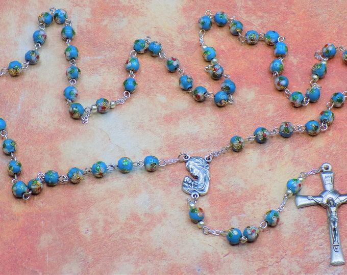 Blue Cloisonné Rosary - Blue 8mm Cloisonné Metal Beads - Czech Beads - Italian Silver Our Lady & Child Center - Italian Silver Crucifix