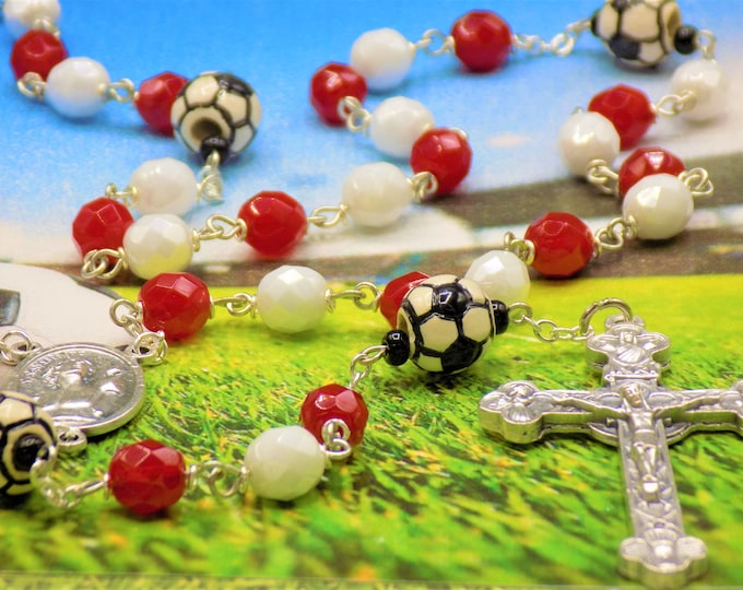 Red & White Soccer Rosary - Czech Red and White Glass Beads - Ceramic Soccer Balls -Italian St Sebastian Center-Italian Eucharistic Crucifix