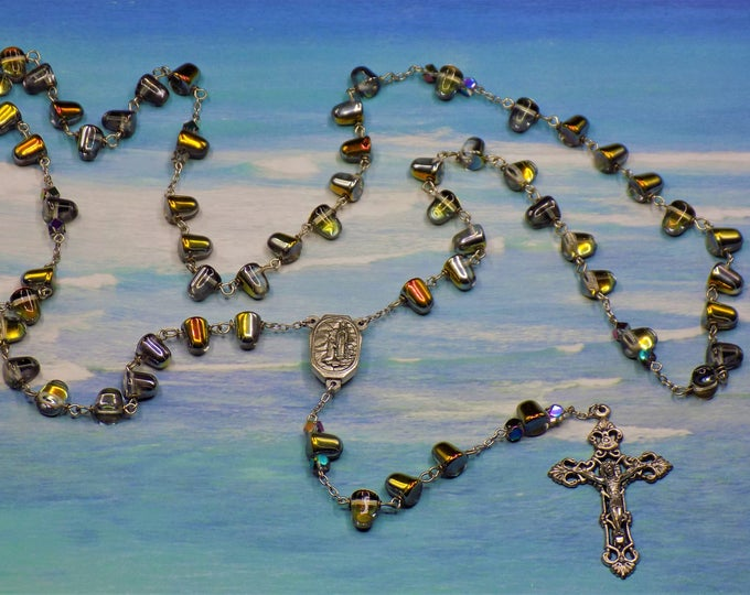 Czech Crystal Marea Gum Drop Rosary -Czech Gum Drop Crystal Marea Beads -Italian Lourdes, France Center with Water-Italian Filigree Crucifix