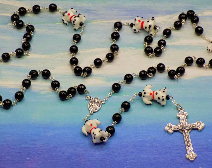Dalmatian Dog Rosary - Semi Precious Black Jasper Beads - Dalmatian Dog Glass Beads -Italian St Francis Center -Italian Eucharistic Crucifix