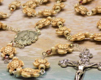 Stone Turtle Rosary - White Stone Turtle Beads - Czech Gold Accent Beads - Italian Our Lady of Fatima Center -Italian Eucharistic Crucifix