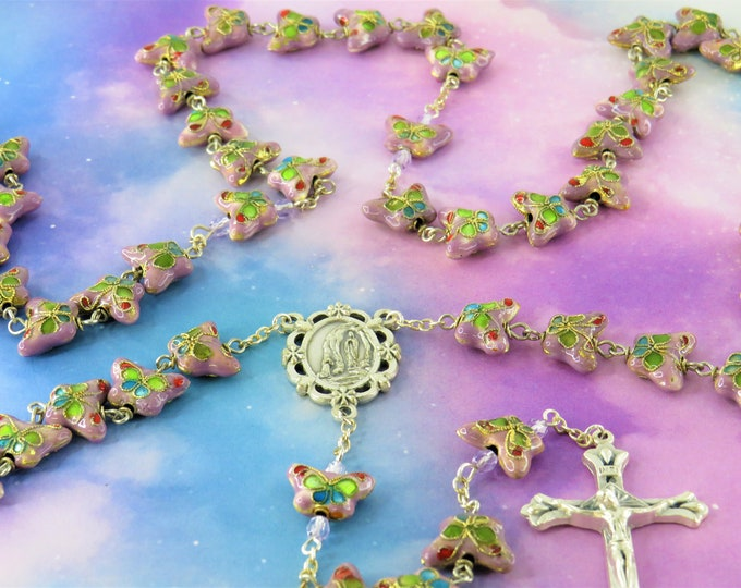 Purple Cloisonné Butterfly Rosary - Purple Cloisonné Butterfly Metal Beads - Italian Silver Lourdes Center - Italian Sunburst Flare Crucifix