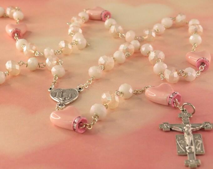 Pink Ceramic Heart Rosary - Pink Faceted Crystal Beads - Pink Heart Shape Ceramic Beads - Italian Fatima Center - Italian Sunburst Crucifix