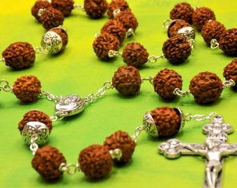 "Rudraksha Rosary - Natural Rudraksha Beads - Mary & Child with Soil from Jerusalem ""Holy Land"" Center - Italian Silver Eucharistic Crucifix"