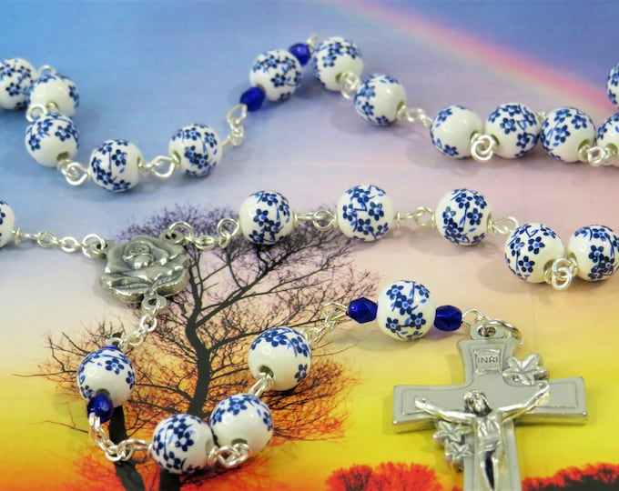 White & Blue Flower Rosary - White and Blue Flower Ceramic Beads - Italian Silver Rose and Mary Center - Italian Silver Flower Crucifix