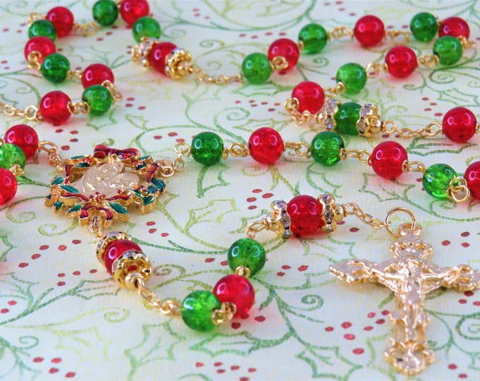 Christmas Rosary - Red and Green Crackle Glass Beads -Austrian Rhinestone Father Beads -Gold Christmas Red & Green Center -Filigree Crucifix