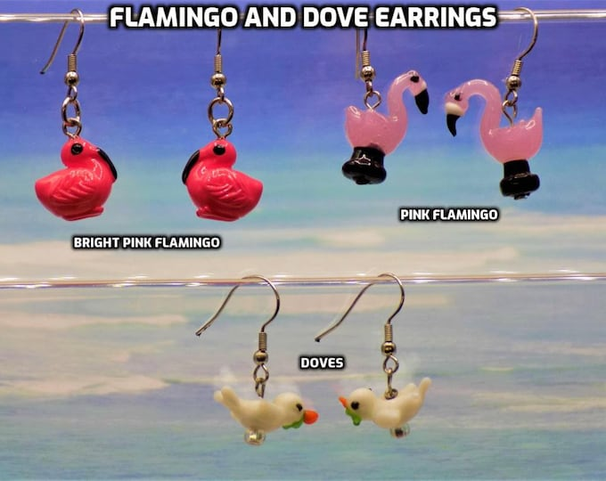 Pink Flamingo & Dove Earrings - Pink Flamingo Glass - Dove with Olive Branch - 3 Different Styles to Choose From