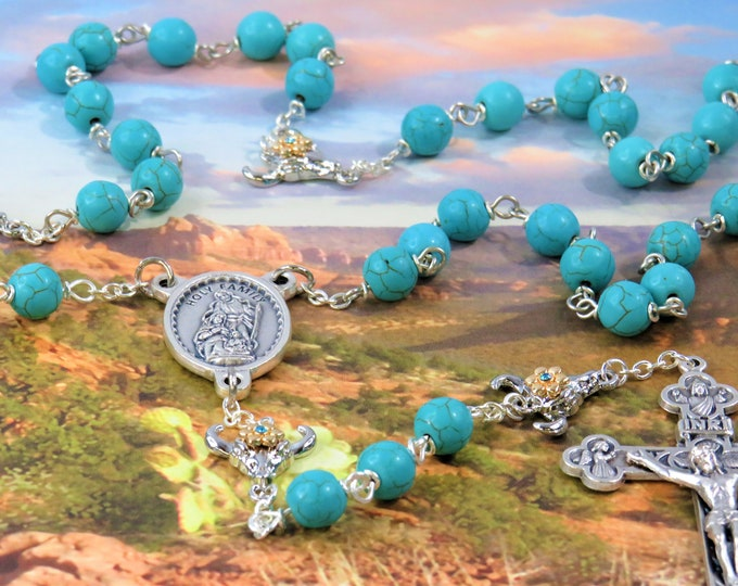 Turquoise Stone Rosary -Turquoise Magnesite Stone 8mm Beads - Rhodium Bullhead Skull Father Beads - Holy Family Center -Eucharistic Crucifix
