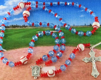 Baseball Sports Rosaries - Blue and Red - Blue and Light Blue - Blue and White - Blue and Gold - White and Blue - Baseball Team Colors