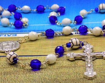 Volleyball Rosary - Czech Blue & White 8mm Glass Beads - Peru Ceramic Volleyballs - Italian Holy Face Center - Italian Eucharistic Crucifix