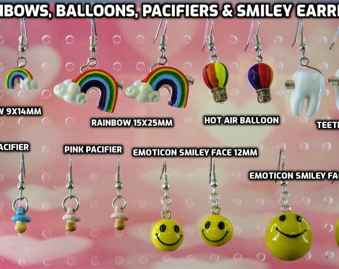 Rainbow & Clouds (2 Sizes) - Hot Air Balloons - Teeth - Blue and Pink Pacifiers - Emoticon Smiley Face (2 Sizes) - 8 Styles to Choose From