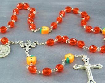 Teacher Rosary - Czech Orange Crystal Beads - Apple Beads - Fleur-de-Lis Fiat Center - Italian Sunburst Crucifix - St John De La Salle Medal