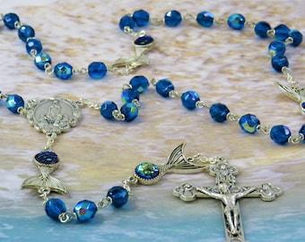 Blue Mermaid Tail Rosary - Czech Blue Crystal Beads - Metal & Crystal Mermaid Beads - Italian Fatima Center - Italian Eucharistic Crucifix