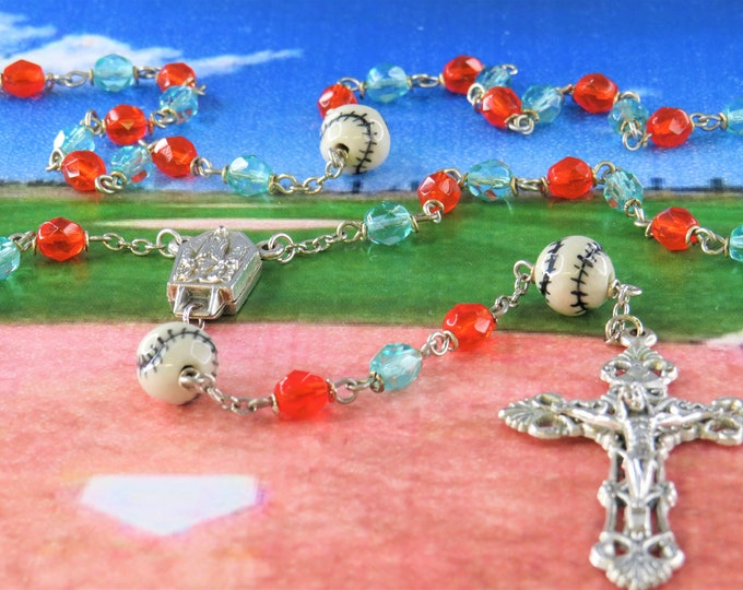 Baseball Orange & Aqua Rosary - Czech Orange and Aqua Crystal Beads -Ceramic Baseballs -Center Contains Water from Fatima -Filigree Crucifix