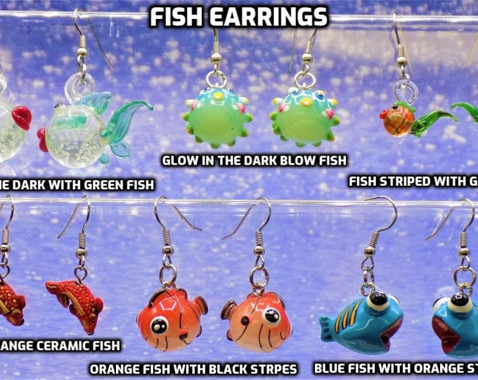 """Fish Earrings - Kissing""""Glow in the Dark"""" Fishes -Blow Fish """"Glow in the Dark"""" - Green Tail Fishes - Koi Fishes - Blue Fishes -Orange Fishes"""