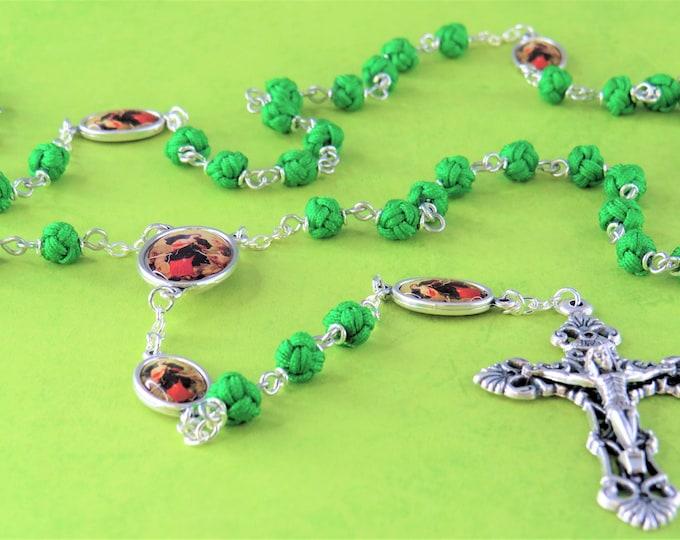 Mary Undoer of Knots Rosary -Polyester 6mm Green Knot Beads -Italian Mary Undoer of Knots Father Beads and Center -Italian Filigree Crucifix