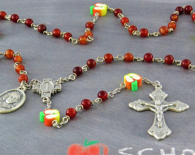 Teacher Rosary - Semi Precious Amber Candy Jade Beads - Polymer Clay Apple Beads - Immaculate Mary Center - Italian Grapes and Vine Crucifix