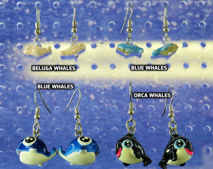 Whale Earrings - Beluga Whales - Blue Whales - Baby Blue Whales - Orca Whales - 4 Different Whales to Choose From