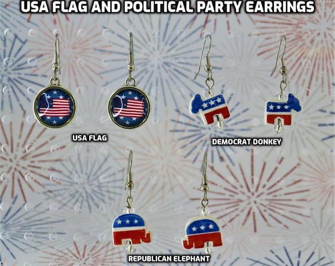 USA Flag and Political Party Earrings - USA Flag Metal Charm - Democrat Donkey Ceramic Charm - Republican Elephant Ceramic Charm Earrings