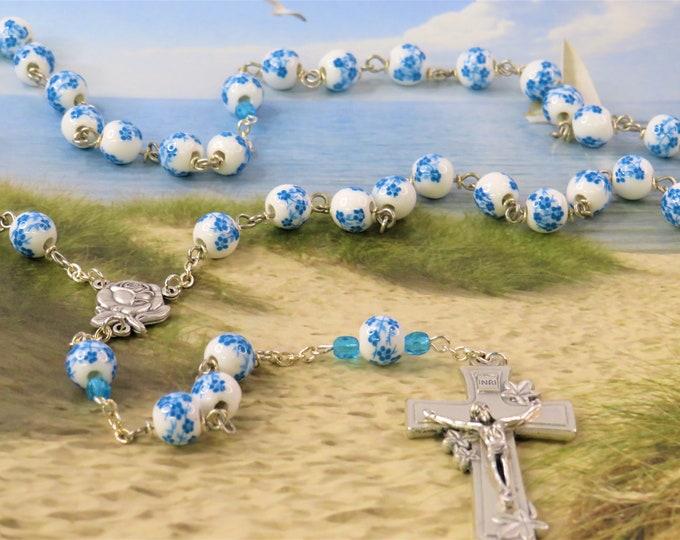 White, Blue & Aqua Flower Rosary - White, Blue and Aqua Flower Ceramic Beads - Italian Rose and Mary Center - Italian Silver Flower Crucifix